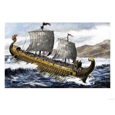 A Trireme, with Three Banks of Oars, Used by the Ancient Greeks and Romans Print Wall Art