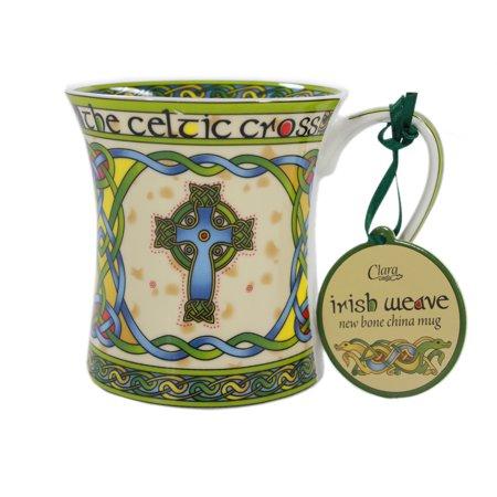 Royal Tara Bone China High Cross Irish Mug Celtic Weave - 380 ml/13 fl oz Bone China Platinum Mug