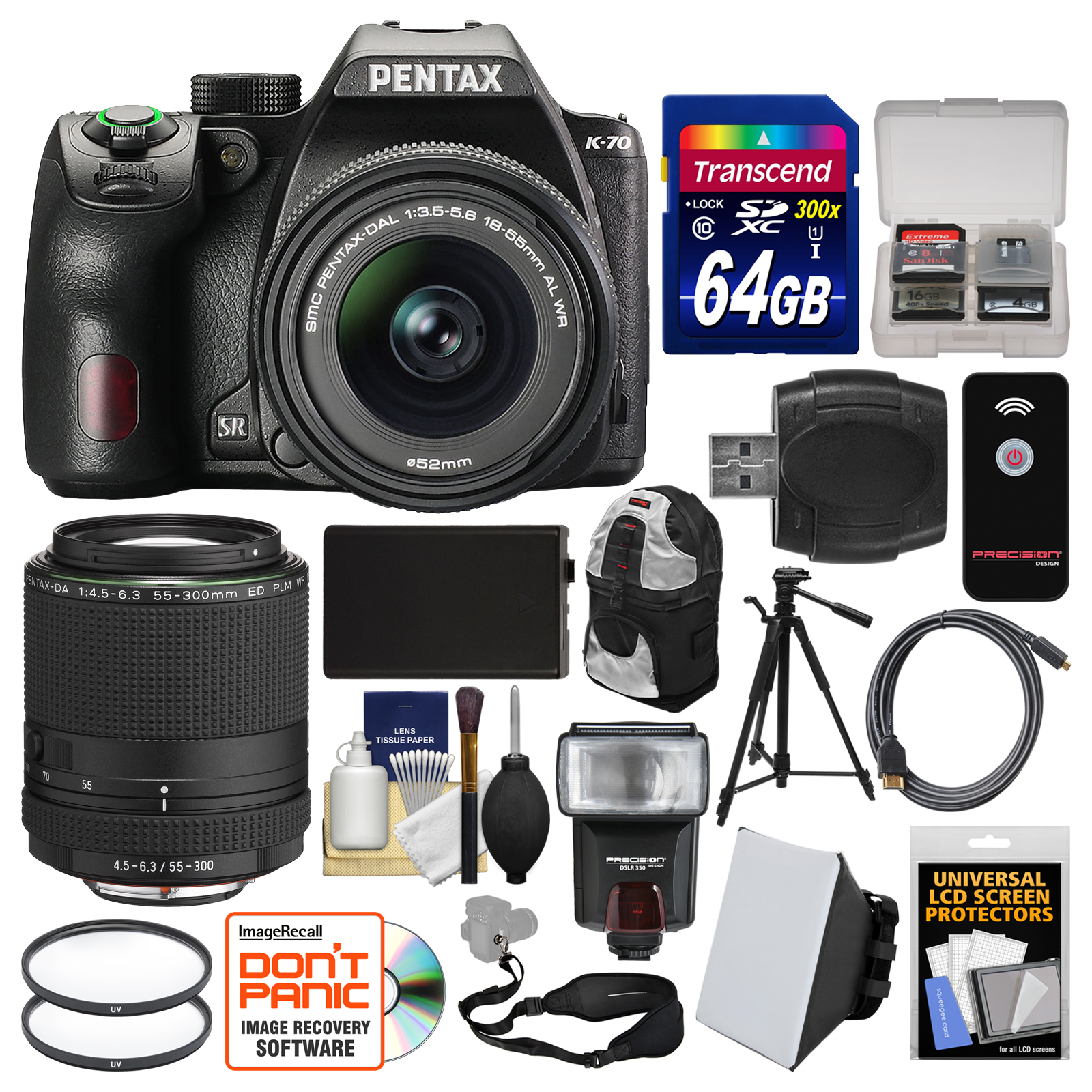 Pentax K-70 All Weather Wi-Fi Digital SLR Camera with DA 18-55mm AL WR & 55-300mm Lens + 64GB Card + Backpack... by Pentax