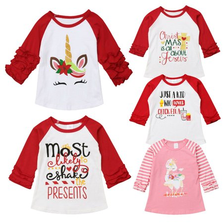Boutique Toddler Baby Girl Christmas Unicorn Long Sleeve Tops T-shirt