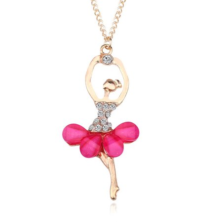 Stylish Elegant Ballerina Girl Necklace Exquisite Shimmer Rhinestone Pendant Necklace Festival Birthday Gift - Elegant Moments Jewelry