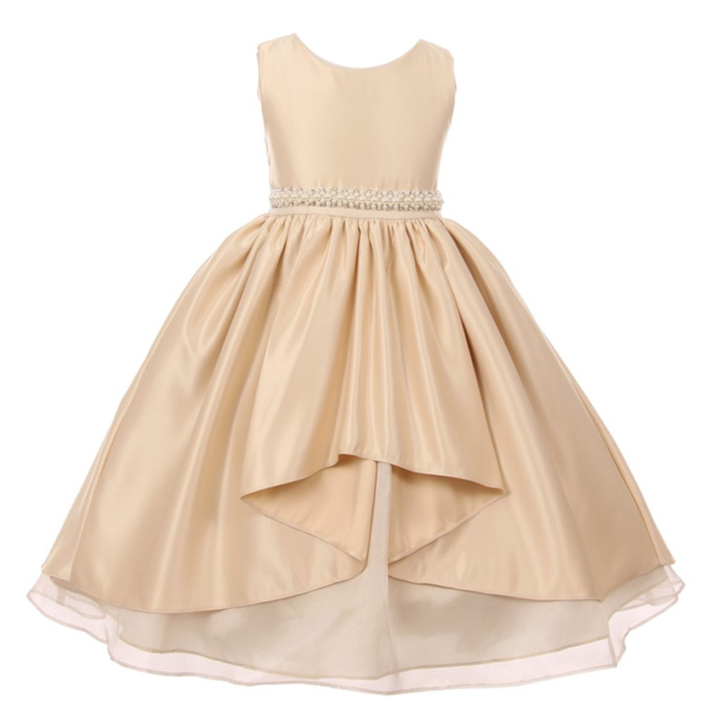 Girls Champagne Satin Unbalanced High Front Junior Bridesmaid Dress 8-12