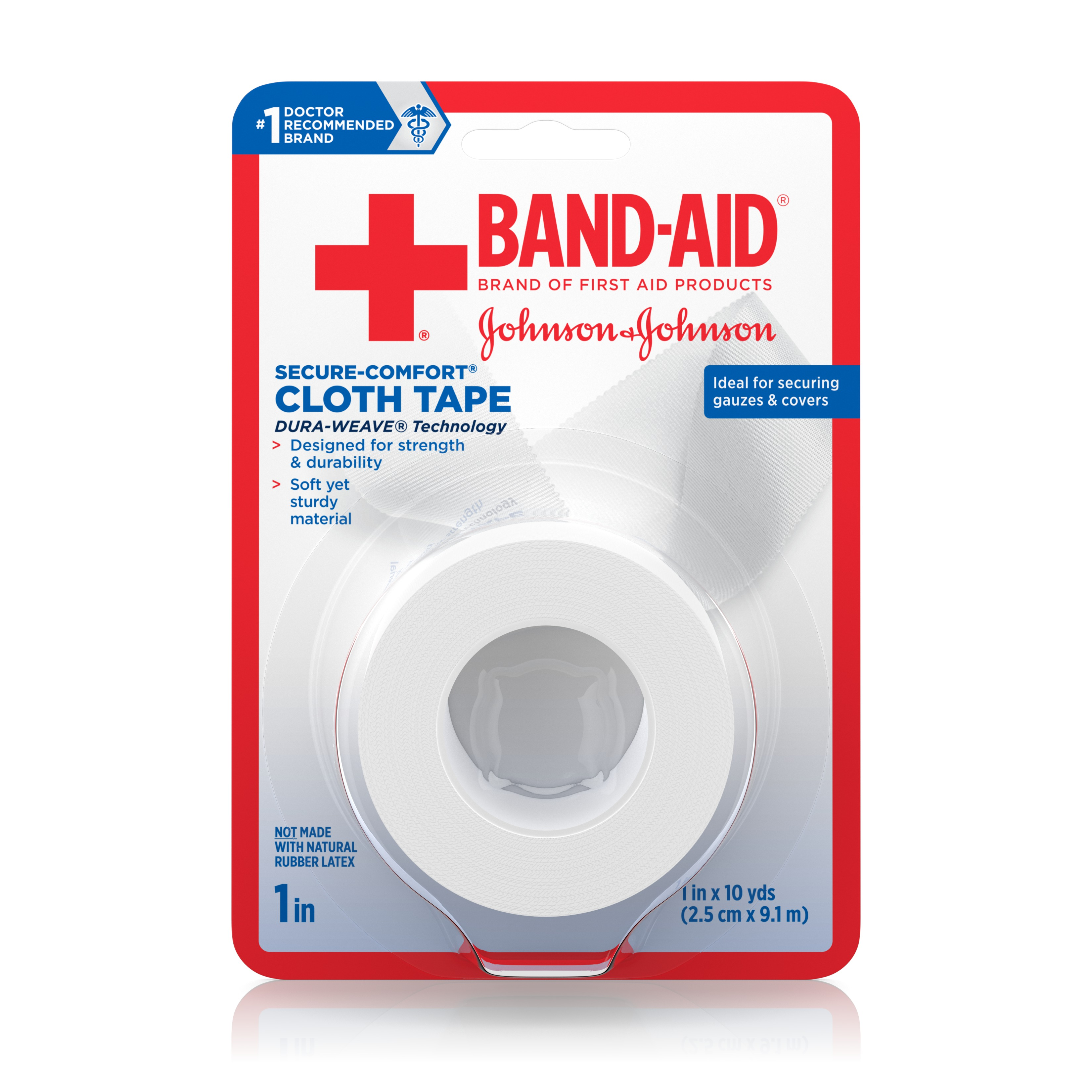 Band-Aid Brand of First Aid Products Cloth Tape for Securing Bandages, All-Purpose, 1 Inch by 10 Yards