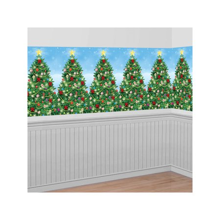 Christmas Decoration Evergreen Wall Scene Setter | Plastic - Christmas Scene Decorations
