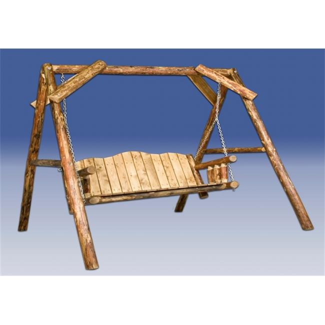 Glacier Country Log Lawn Swing with A-Shaped Frame