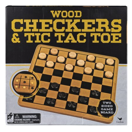 Wood Checkers & Tic Tac Toe - 2 Sided Game Board and Pieces](Tic Tac Toe Scary Halloween)