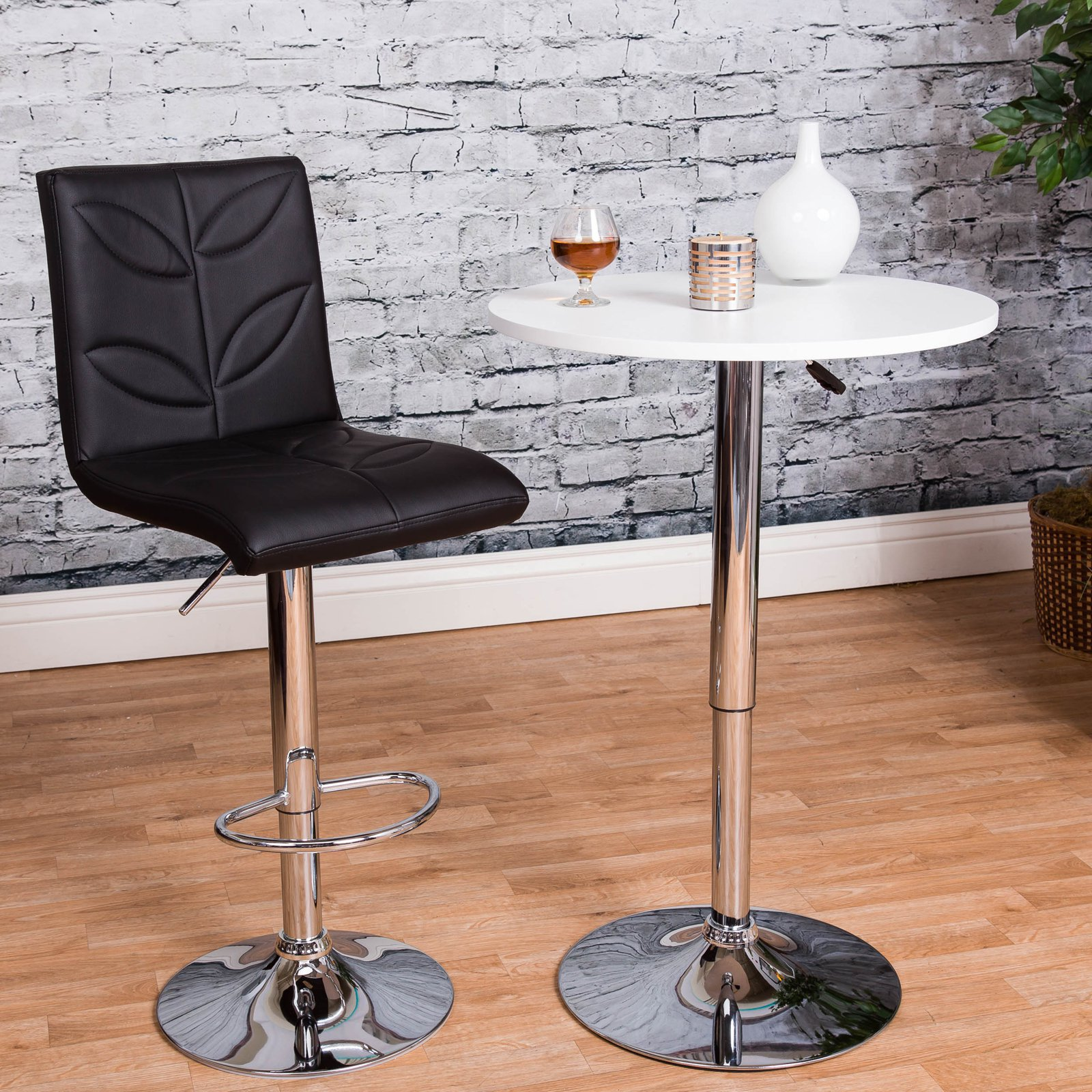 Vogue Furniture Direct Adjustable Height Black Leather with leaf stitching Swivel Barstools with Footrest VF1581003