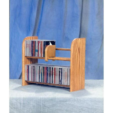 Video Component Rack - The Wood Shed Solid Oak 2 Row Dowel 84 CD Media Rack