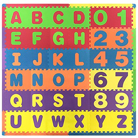 Kids 36 Pieces Puzzle Letters and Numbers Exercise Play Mat With Textures and Borders - JUMBO Size 75