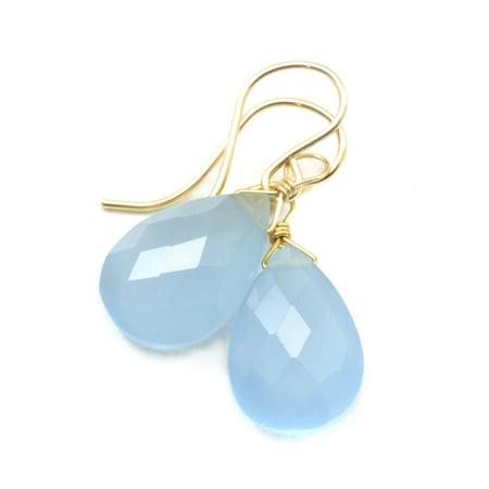 Grey Teardrop Earrings - Chalcedony Earrings Grey Blue Faceted Pear Shaped Teardrop 14k Gold Filled Dangles Spyglass Designs