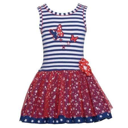 Baby Girl 3-6M Navy Stripe Red Mesh Star Butterfly Dress