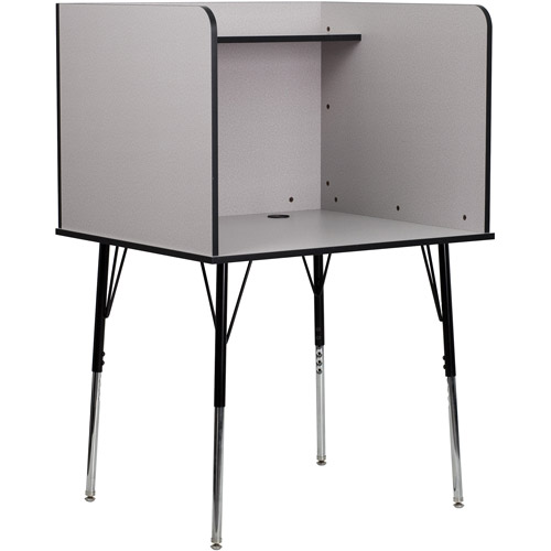 Flash Furniture Study Carrel with Adjustable Legs and Top Shelf