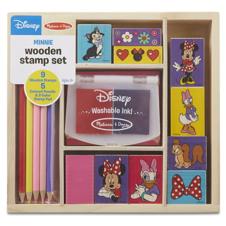 Melissa & Doug Disney Minnie Mouse Wooden Stamp Set: 9 Stamps, 5 Colored Pencils, and 2-Color Stamp