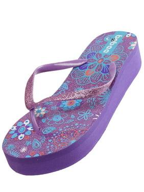 cb33e983bfe4 Product Image Summer Flower Sparkling Bling Wedge Platform Thong Flip Flops  Slip On Beach Sandals Shoes