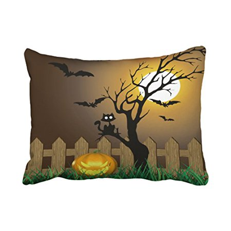 WinHome Decorative Pillowcases Scary Halloween Garden Scene Throw Pillow Covers Cases Cushion Cover Case Sofa 20x30 Inches Two Side - Halloween Ii Best Scenes