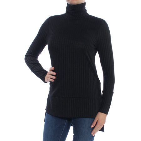 KENSIE Womens Black Long Sleeve Turtle Neck Hi-Lo Top  Size: M