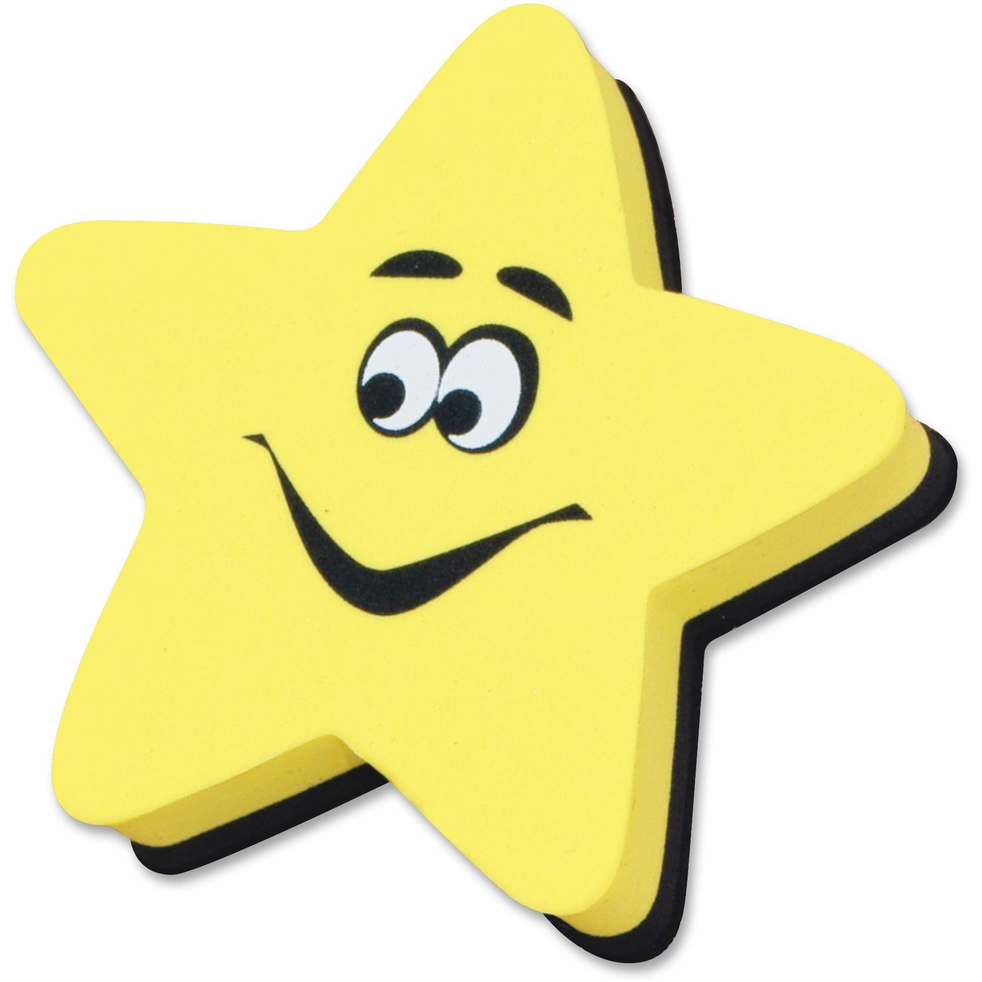 Ashley, ASH10016, Yellow Star Magnetic WhiteBoard Eraser, 1 Each, Yellow