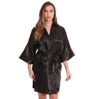 Just Love Womens Satin Solid Kimono Robe (1X, Navy)