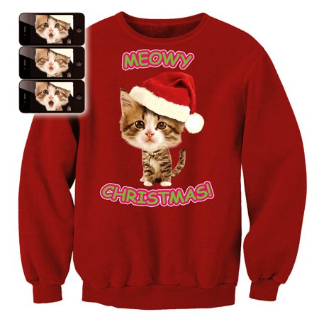 Kitten Christmas Sweater.Digital Dudz Adult Xmas Kitty Sweatshirt Ugly Christmas Sweater Red
