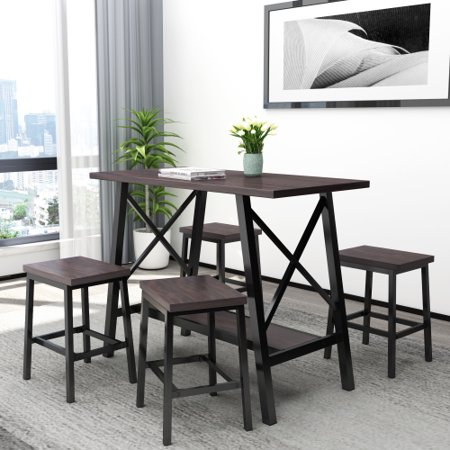 5-Piece Bar Table Set, Counter Height Bar Table with 4 Bar Stools, Bistro Style Bar Table and Stool, Espresso