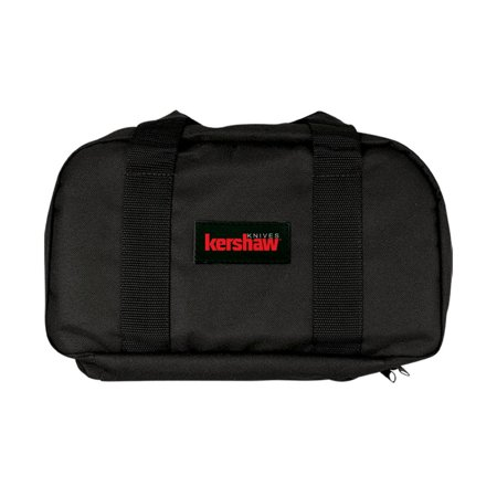 Nylon Center - Kershaw Knife Storage Bag (Z997); 13 x 7.5 In. Case with Black Nylon Siding, Black Nylon Straps, 8-Pocket Removable Center Section, Red Kershaw Logo Embossed Patch and 18 Folding Knife Capacity; 12 oz