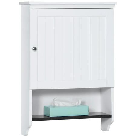 Best Choice Products Bathroom Wall Mounted Hanging Storage Cabinet Furniture w/ Open Shelf, Versatile Door - -