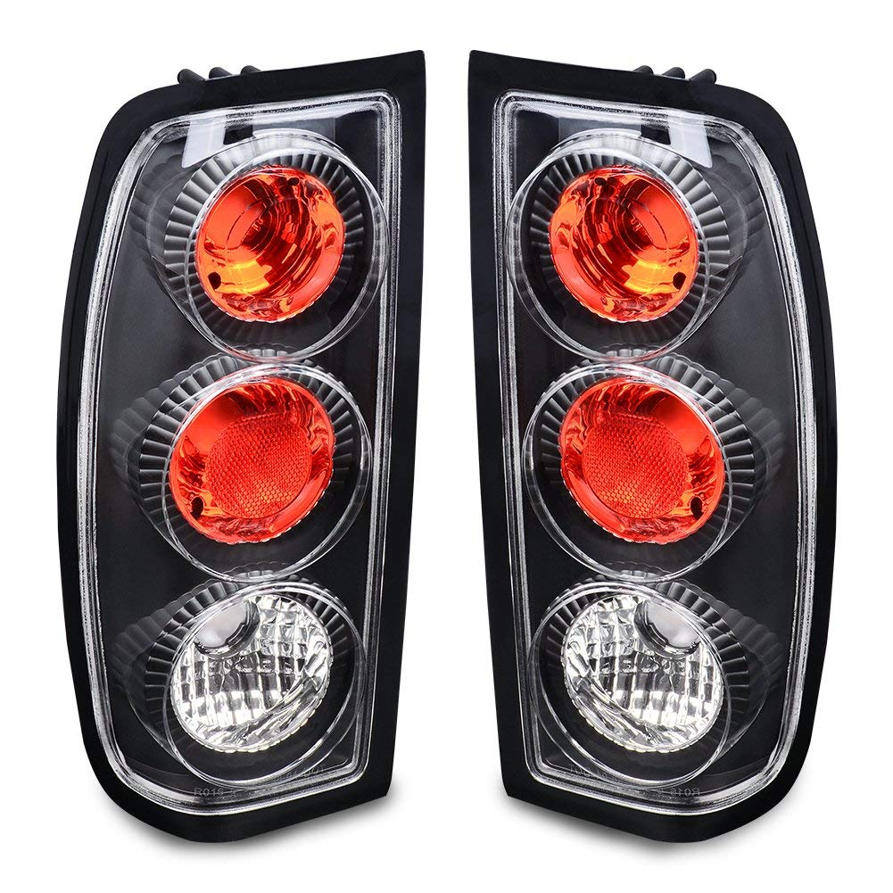Taillights Tail Lamps For Nissan Frontier 1998 1999 2000 2001 2002 2003 2004 (Black Clear OE Replacement Rear Assembly)