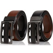 Genuine Leather Belts For Men Reversible Ratchet Belt With Adjustable Automatic Buckle - Casual and Dress Belt