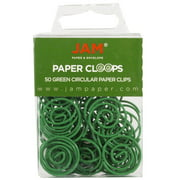 JAM Round Paper Clips, Green Paperclips, 50/Pack
