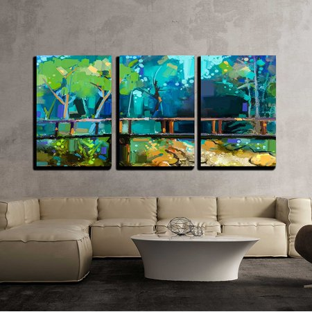 wall26 - 3 Piece Canvas Wall Art - Hand Painted Colorful Summer Nature Forest with Yellow and Green- Blue Color - Modern Home Decor Stretched and Framed Ready to Hang - 24