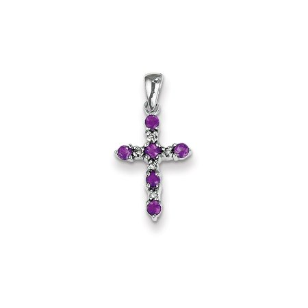 14k White Gold Purple Amethyst Diamond Cross Religious Pendant Charm Necklace Fancy Gifts For Women For Her