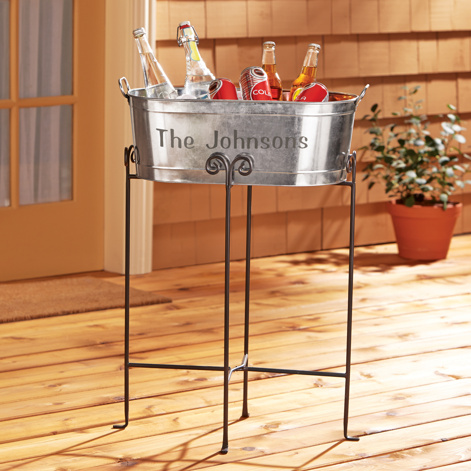 Galvanized Beverage Tub - Family Name w/Stand