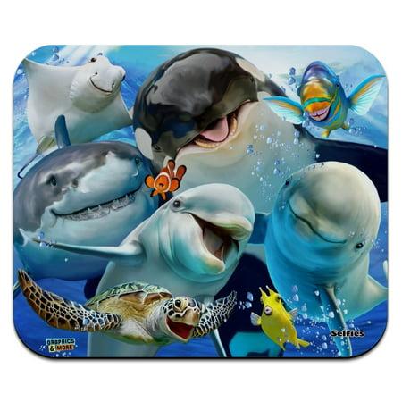 Ocean Selfie Shark Dolphin Sea Turtle Stingray Clown Fish Low Profile Thin Mouse Pad Mousepad (Stingray Mouse Pad)