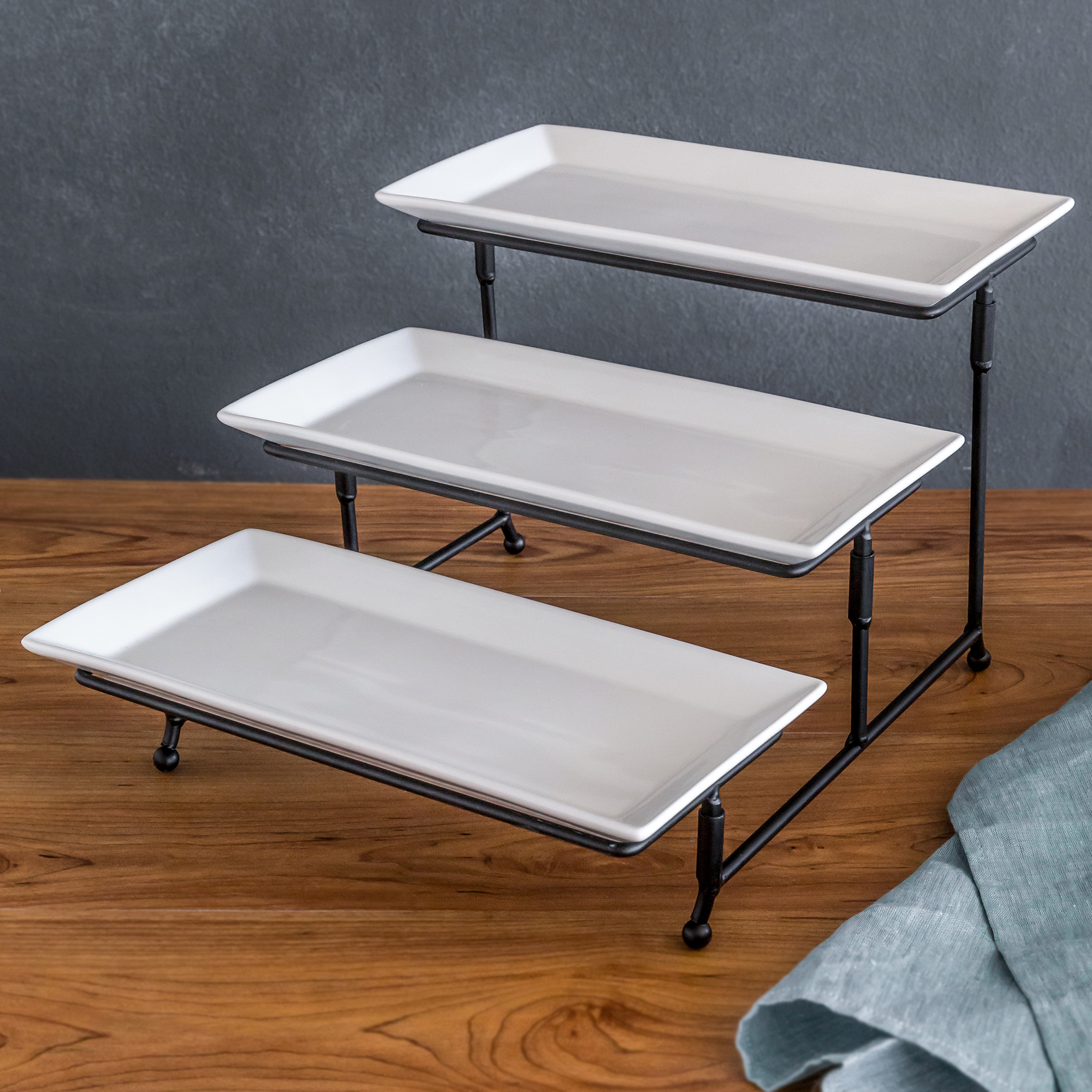 Better Homes and Gardens Porcelain 3-Tiered Rectangular Server w Metal Rack