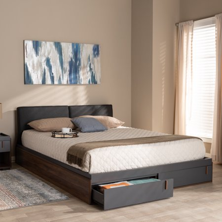 Baxton studio rikke modern and contemporary two tone gray - Modern queen bed with storage ...