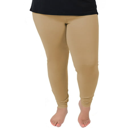 Women's Plus Size Cotton Leggings - 2X (16-18) / Beige](Orange And Black Striped Leggings)