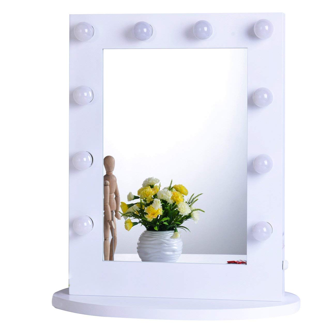 Chende Gloss White Hollywood Makeup Vanity Mirror with Light Tabletops Lighted Mirror with LED Bulbs, Illuminated Wall Mounted Cosmetic Mirror