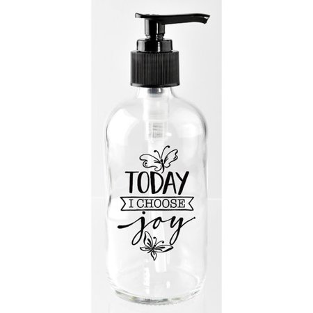 Dexsa Today I Choose Joy 8 oz. Glass Soap Dispenser Brass Glass Soap Dispenser