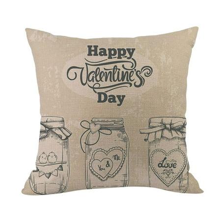 Happy Valentine Pillow Cases Cotton Linen Sofa Cushion Cover Home Decor