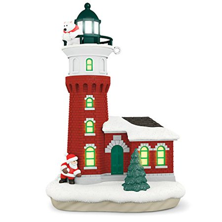 Hallmark Keepsake 2017 Santa and Polar Bear Holiday Lighthouse Dated Christmas Ornament With - Hallmark Bear