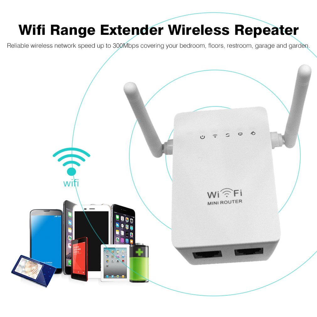 300Mbps 802.11 Wireless Wifi Repeater Router Booster with Double Antennas
