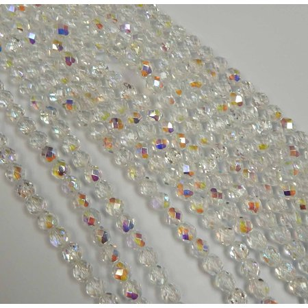 24 Firepolish Faceted Czech Glass, Loose Beads, 8mm AB Crystal