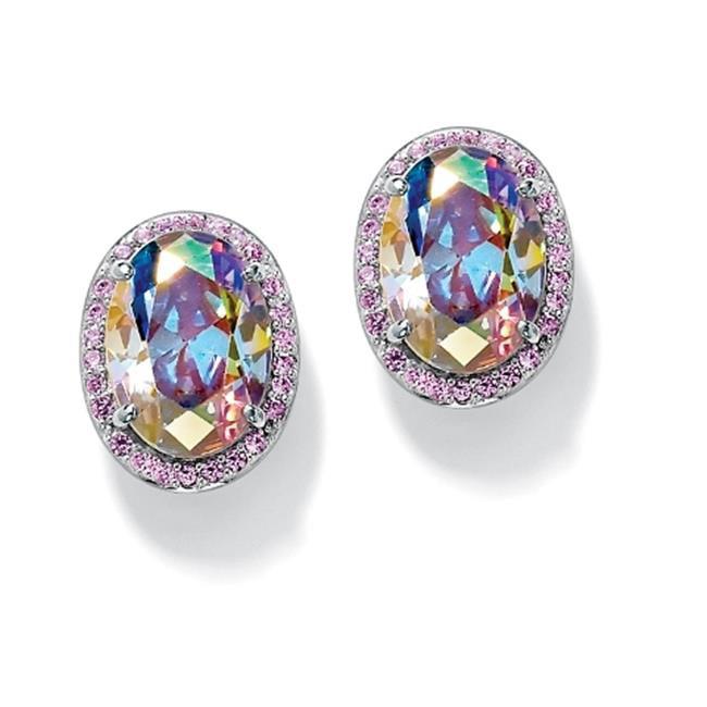 PalmBeach Jewelry 48830 26. 81 TCW Oval Cut Aurora Borealis Cubic Zirconia Sterling Silver Button Earrings