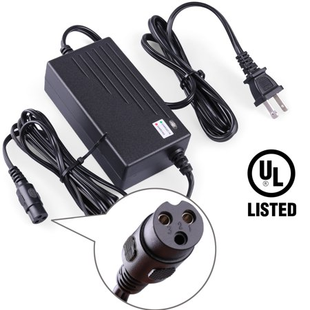 24V 2A Scooter Battery Charger For Razor E100 E200 E300 E125 E150 E500 E225 E175 E225S E300S E325S MX350 PR200, Pocket Mod, iMod, Ground Force Go Kart, Electra Scoot-N-Go ()