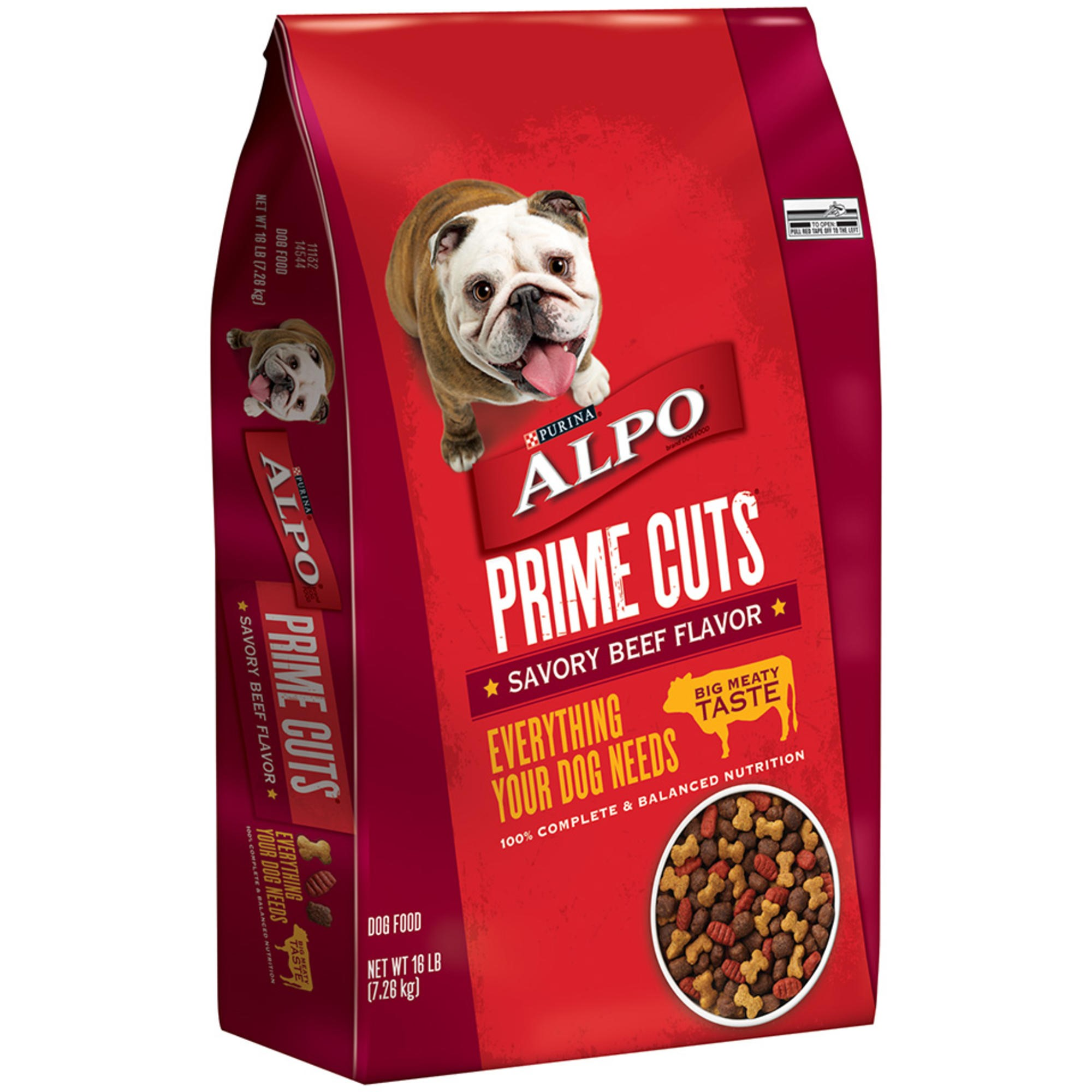 Purina ALPO Prime Cuts Savory Beef Flavor Dry Dog Food, 16 LB