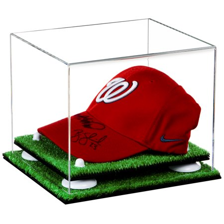 Deluxe Clear Acrylic Baseball Cap Display Case White Risers Turf Base (A006-WR) Acrylic Cap Display Case