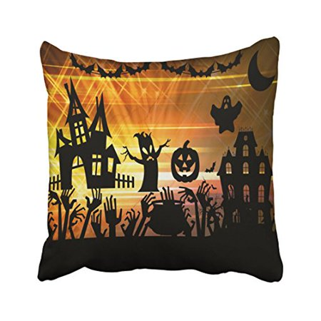 Throw A Halloween Party (WinHome Halloween Party Throw Pillow Covers Cushion Cover Case 18x18 Inches Pillowcases Two)