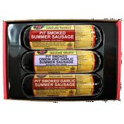 Pit Smoked Summer Sausages Sampler Gift Basket, 3pc