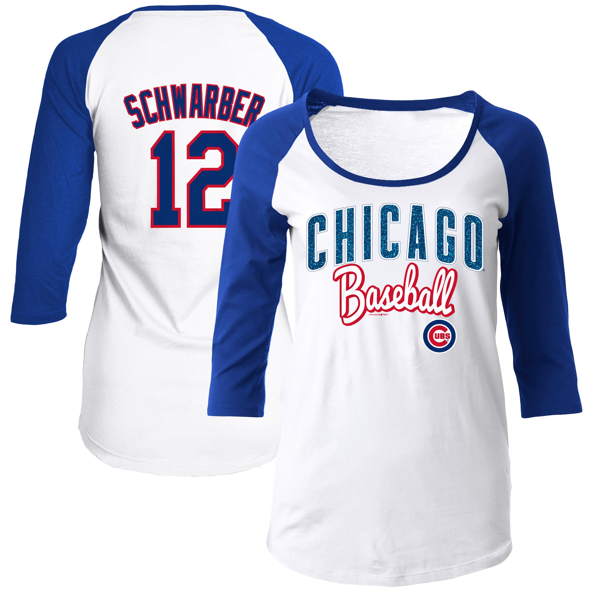Women's 5th & Ocean by New Era Kyle Schwarber White/Royal Chicago Cubs Glitter 3/4-Sleeve Raglan T-Shirt