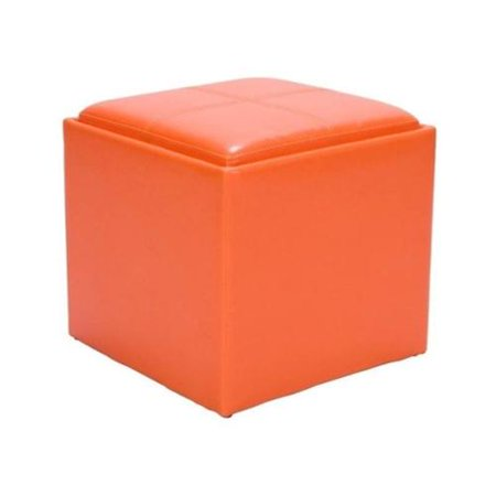 Trent Home Ladd Faux Leather Storage Cube Ottoman In